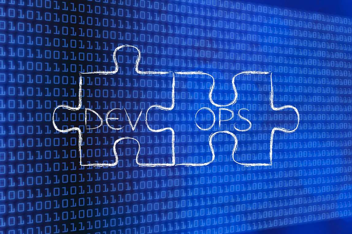 Puzzle pieces with Dev + Ops. Illustration.