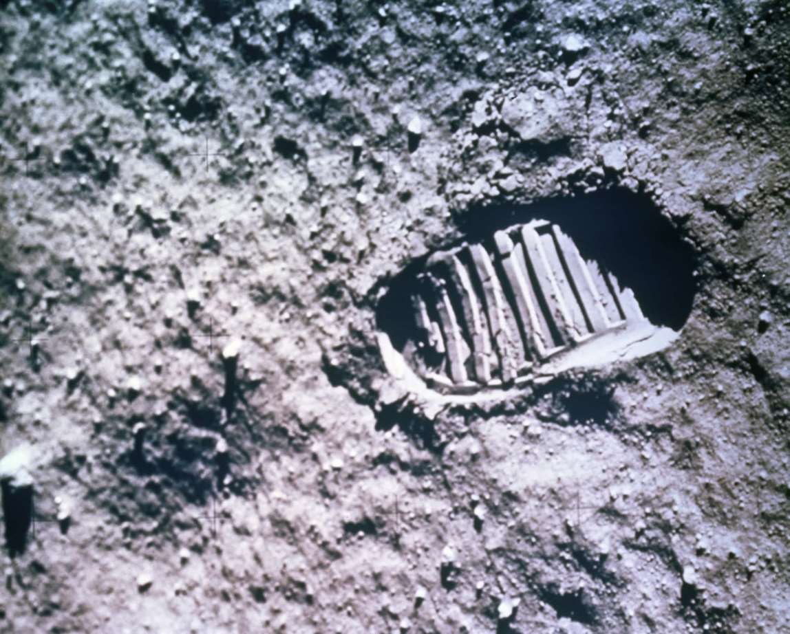 Footprint on moon surface. Photo..