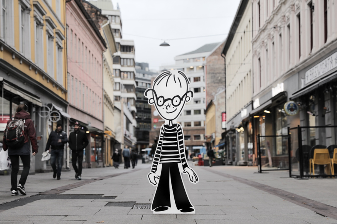 """Tim"" standing in a city street. Illustration"