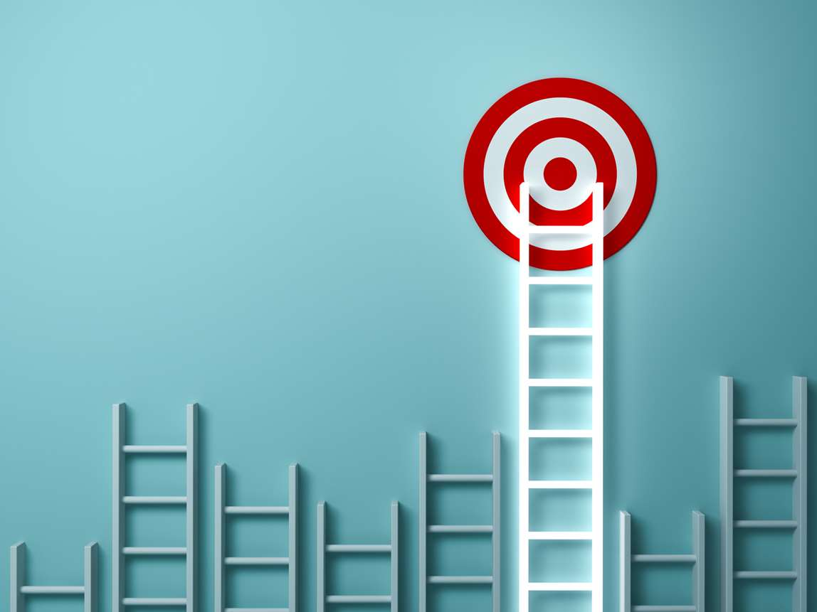 Ladder with target on top. Illustration.