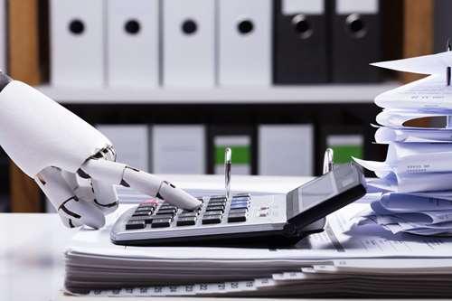 Robot-hand using calculator. Illustration.